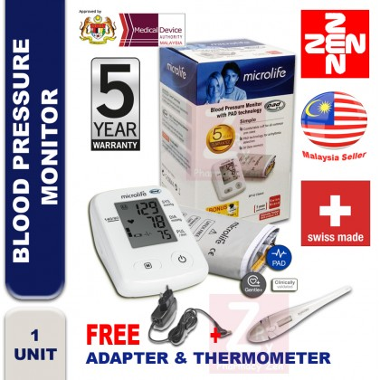 Microlife Blood Pressure Monitor BP A2(5 years guarantee Free Adapter+Thermometer)
