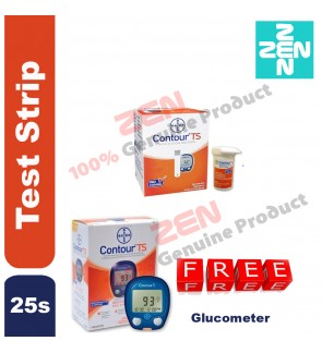 CONTOUR TS TEST STRIP 25S FREE  GLUCOMETER (Expiry date: July 2020)