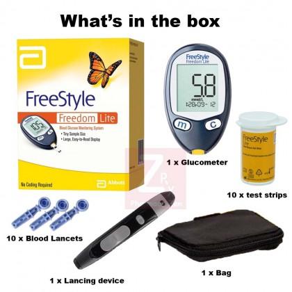 Abbott FreeStyle Freedom Lite Glucometer Blood Glucose Meter With 10s Strip