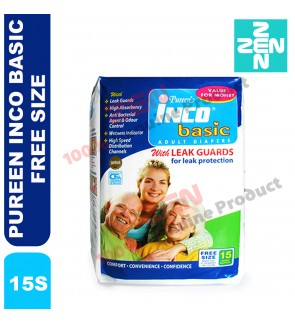 PUREEN INCO BASIC ADULT DIAPERS 15S (FREE SIZE)