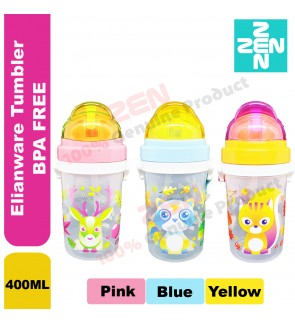 Elianware Water bottle BPA FREE / Water Tumbler for kids 400ML Blue / Yellow / Pink