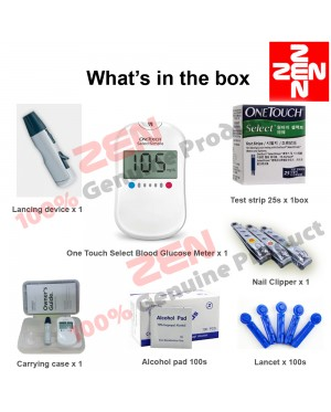 One Touch Select Blood Glucose Meter Free 25 Strips + 100 Lancets+ 100 Alcohol Pad+Flashlight Earpick