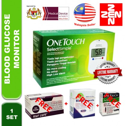 One Touch Select Blood Glucose Meter Free 25 Strips + 100 Lancets+ 100 Alcohol Pad