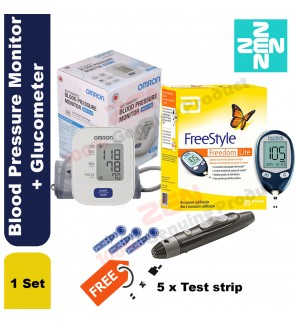 Omron Blood Pressure Monitor HEM7120 + Glucometer Freestyle lite FREE 5 Test Strip