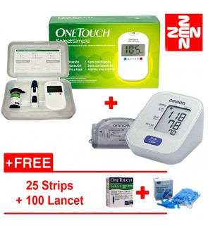 One Touch Select Glucometr+Omron BP Meterr HEM7120 (Free 25 strips +100 Lancets)