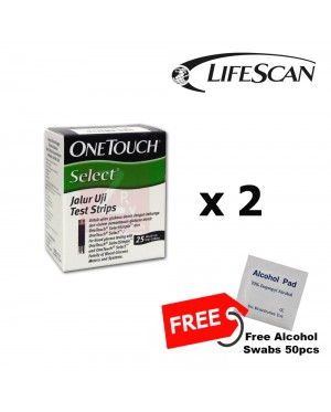 One Touch Select Simple Test Strip 2x25S Free Alcohol Pad 50's