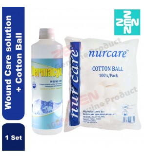 Dermacyn Wound Care solution 500ml+Cotton Ball 100's