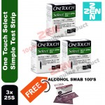 One Touch Select Simple Test Strip 3x 25S Free Alcohol Pad 100s