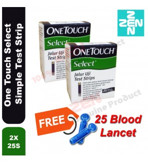 One Touch Select Simple Test Strip 2x25S Free 25 Blood Lancet