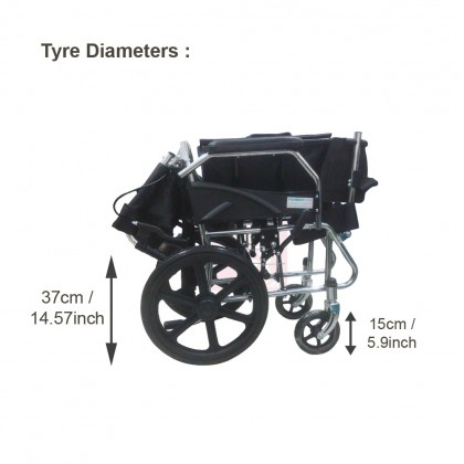 Foldable Small wheel Lightweight Travelling Wheelchair 12kg (Water Resistant PVC Seat)