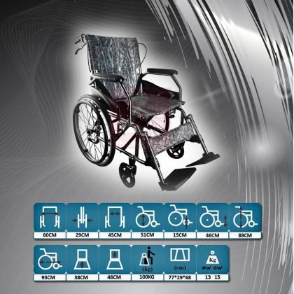 Foldable Big wheel Lightweight Travelling Wheelchair 13kg(Leaf)