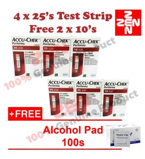 Accu-Chek Performa Strip (2 x 25 +10) 2set Free Alcohol Pad 100s (Expiry date: May 2020)