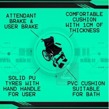Foldable Big Wheel Lightweight Travelling Wheelchair (PVC seat)