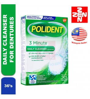 POLIDENT 3 MINUTE DAILY CLEANSER FOR DENTURES(36 TABLETS)