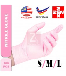 Nitrile Disposable Powder Free Hand Glove  (100's) (size S/M/L) (PINK)