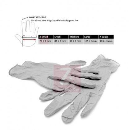 Nitrile Disposable Powder Free Hand Glove (100's) (size S/M/L) (GREY)