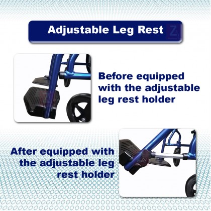 Lightweight Aluminium Wheelchair 11kg-Blue (Bath Suitable, Aluminium foot plate, PVC seat)
