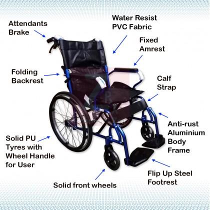 Lightweight Aluminium Wheelchair 11kg-Blue (Bath Suitable, Aluminium foot plate, PVC seat)