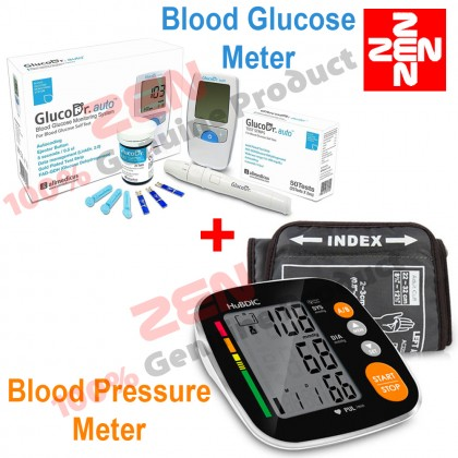 Gluco Dr Blood Glucose Meter AGM-4000+Hubdic Blood Pressure Monitor HBP-1520 FREE 25 Test Strips